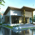 แบบบ้าน Modern แบบบ้านประหยัดพลังงาน ของ กทม type1 (แจกแบบบ้านฟรี)